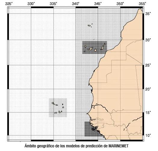 Ámbitos geográficos de los modelos de predicción de MARINEMET
